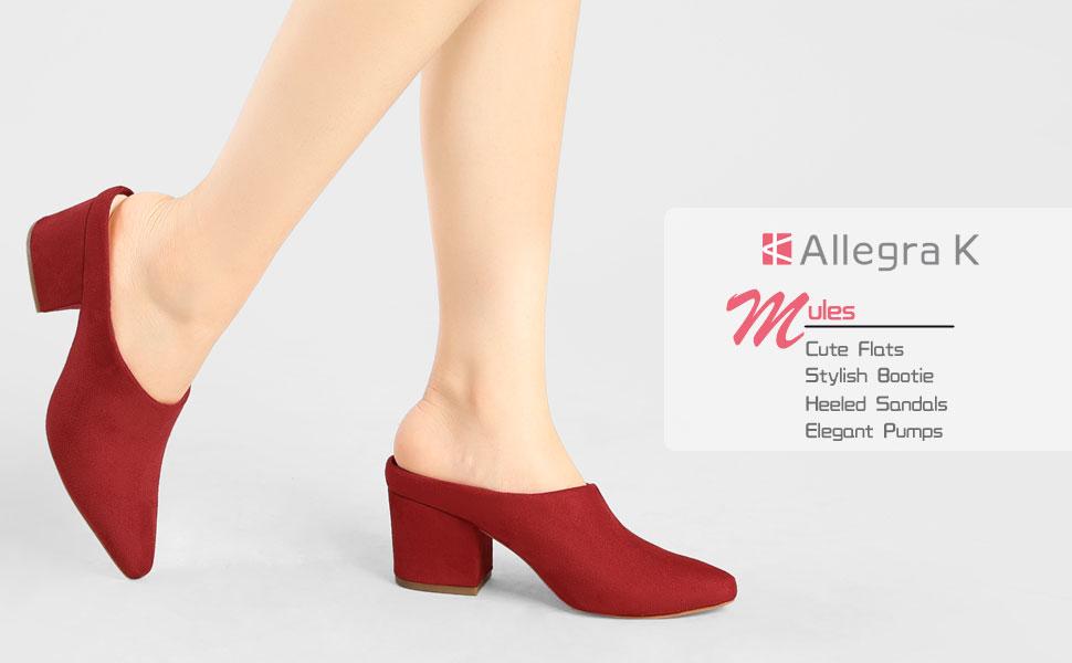 Allegra K Women's Pointed Toe Slip On Block Heel Slide Mules