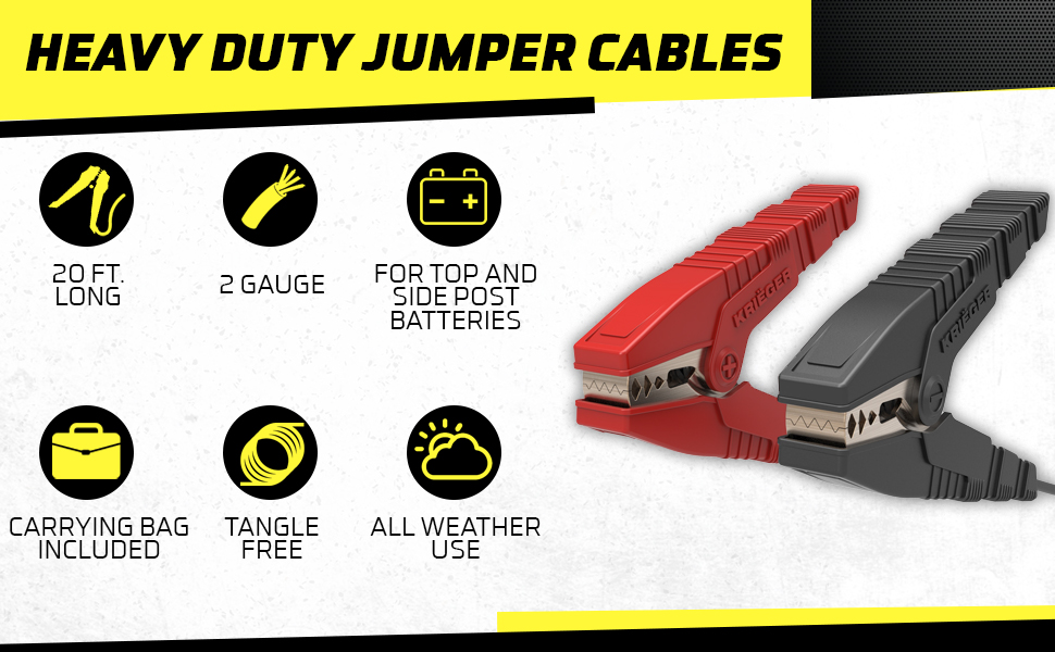 jumper cables heavy duty car battery kit booster cable jump start jumping box portable power clamps