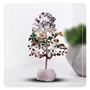gemstone wooden base tree