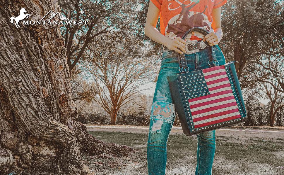 American Flag patriotic purse concealed carry handbag wallet set tote shoulder satchel bag crossbody