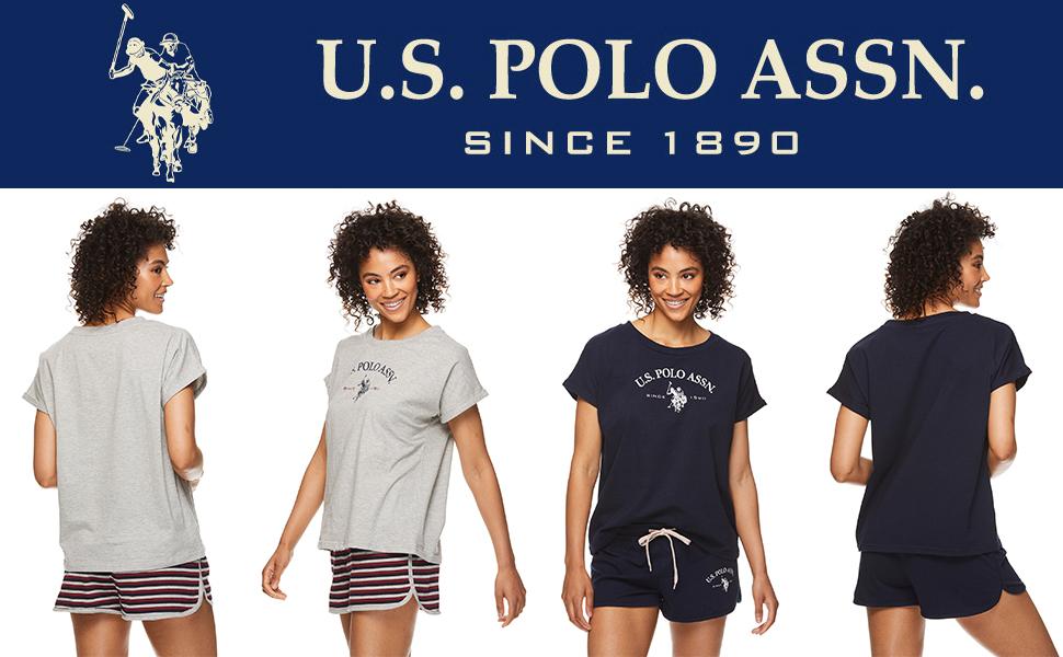 us polo pajama set matching top bottom lounge printed graphic logo
