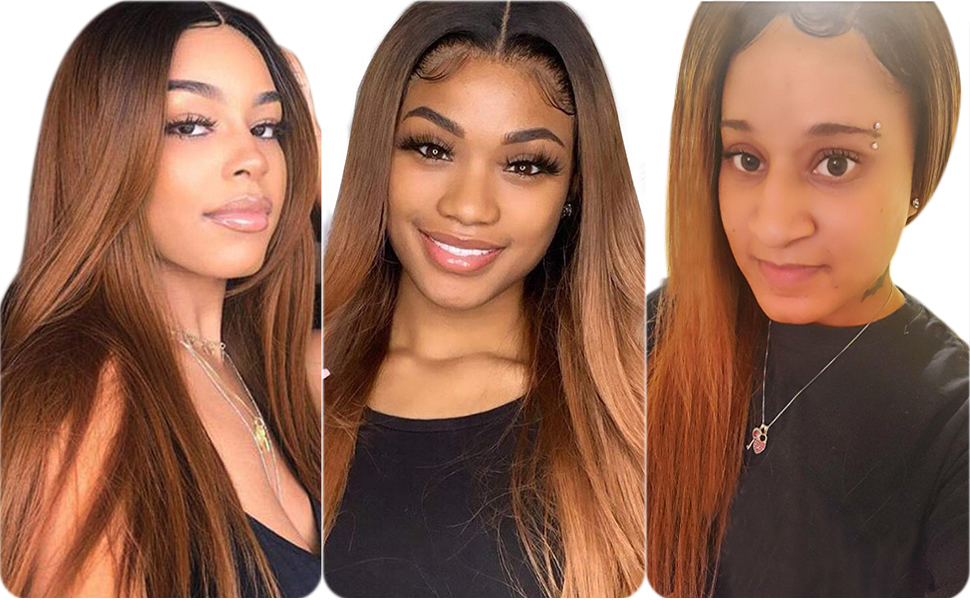 Ombre human hair bundles with closure