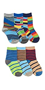Jefferies Socks Boys Pattern Multi Stripe Fashion Crew Socks 6 Pair Pack