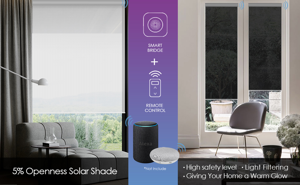 Royal Purple Graywind Motorized Roller Shades 100/% Blackout Window Shades Cordless Window Blinds Thermal Insulated Roller Blinds with Valance and Triple Weaved Fabric Customized Size