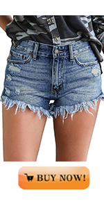 MODARANI Denim Shorts for Women Mid Rise Jeans Ripped Frayed Raw Hem Shorts