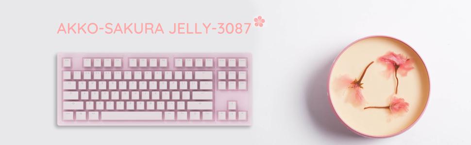 akko sakura jelly, pink keyboard, 87 key keyboard