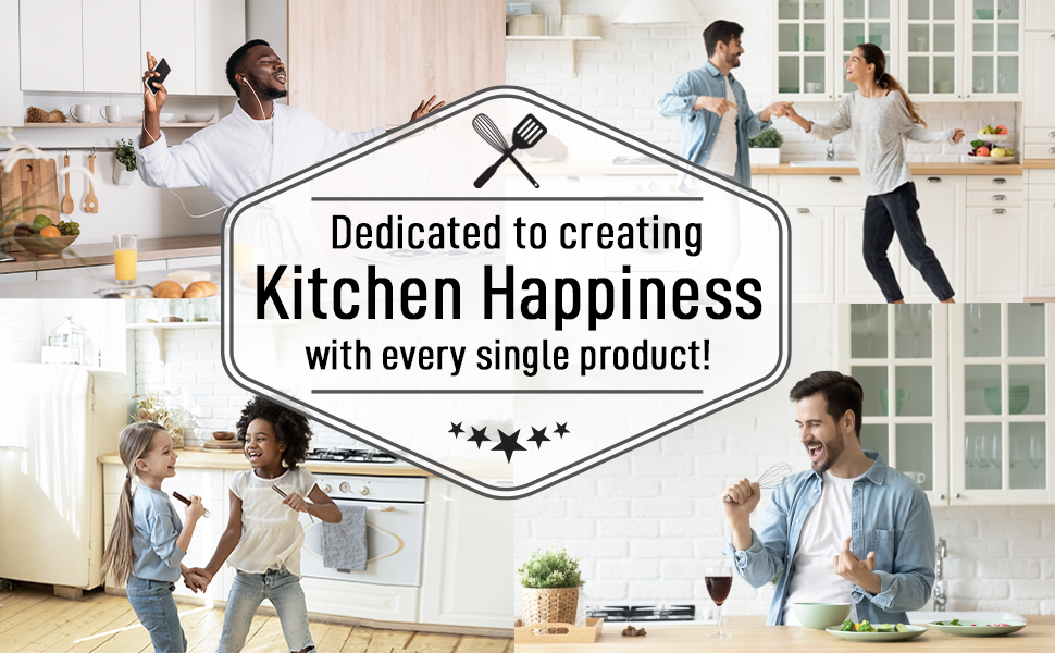 zulay kitchen happiness Nylon Cooking Utensils 7 Piece Set with Rotating Stand home cooking