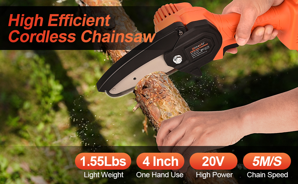 GOXAWEE portable small one hand use lightweight wireless 20 volt wood saw Pruning Shears Chainsaw