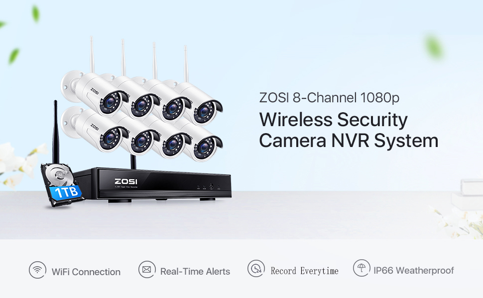 ZOSI H.265+ 8Channel 1080P Wireless Home Security CCTV Camera System with 1TB Hard disk