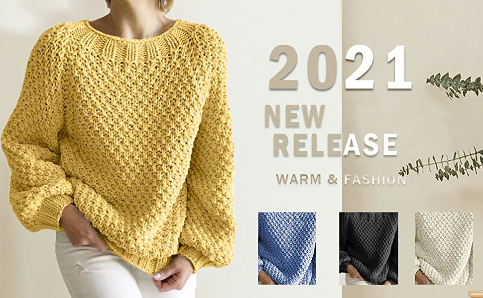 Women chunky knit crewneck sweaters casual oversized loose jumper lady warm pullover sweater