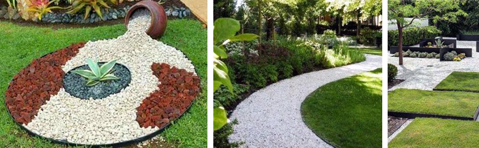 VOUNOT Borde Jardín, Césped Borde, Flexible de Plástico, Longitud 20 m, Altura 5 cm, con 60 Clavijas, Verde: Amazon.es: Jardín