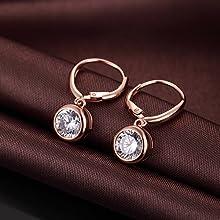 Bezel Earrings Sterling Silver Round Bezel Dangle Leverback Earrings