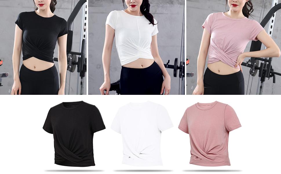 Xinvivion Camiseta Deportiva para Mujer Manga Corta Yoga ...