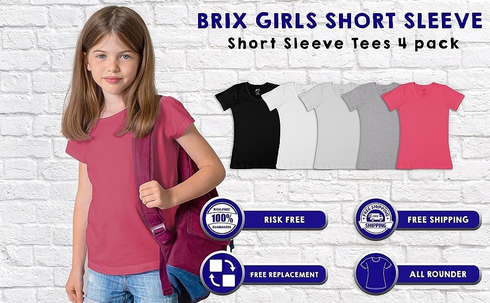 Crewneck Tagless Soft Snug Fit 4 pk. Brix Toddler Girls Short Sleeve Tees