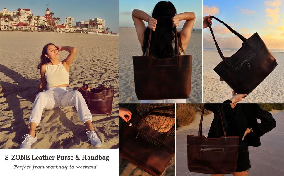 S-ZONE Women Vintage Genuine Crazy Horse Leather Tote Bag Large Handbag Shoulder Purse
