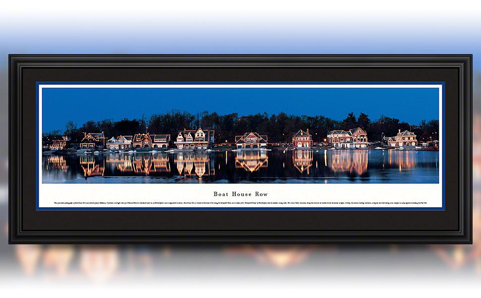 Boat House Row at night framed panorama