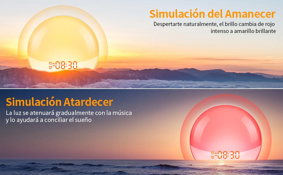 Upgrade Wake up Light Luces Led Despertador Digital con Simulación ...