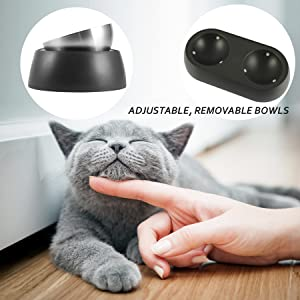 Adjustable, removeable bowls