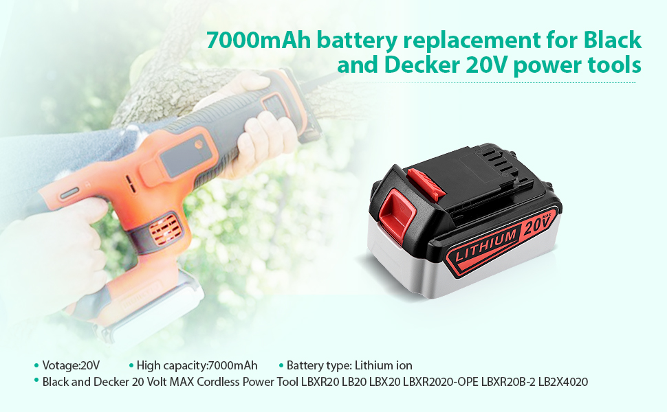 Replacement black and decker 20V lithium battery