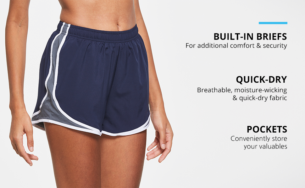 BALEAF Womens 3 Athletic Running Woven Shorts Quick-Dry Gym Sport Workout with Pockets
