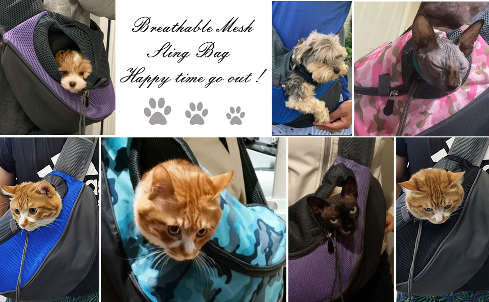 Dog Carrier Sling Front Pack Cat Puppy Carrier Purse Breathable Mesh Travel for Small or Medium