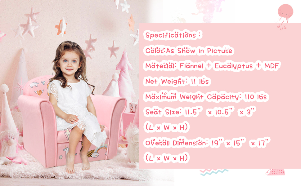 specification of this children sofa chair