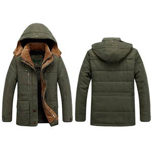 Lentta Mens Casual Winter Warm Thick Hooded Heavy Fleece Lined Parka Jacket Coat