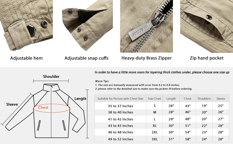 Men's Front Zip Cotton Jacket