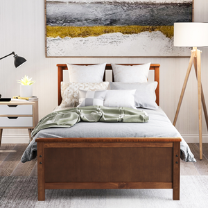 Twin Bed Frame with Headboard  Harper&Bright Designs Wood Platform Bed with Headboard, Footboard, Wood Slat Support, No Box Spring Needed(Twin, White) 88425168 1092 490d 9dda 9313be79252c