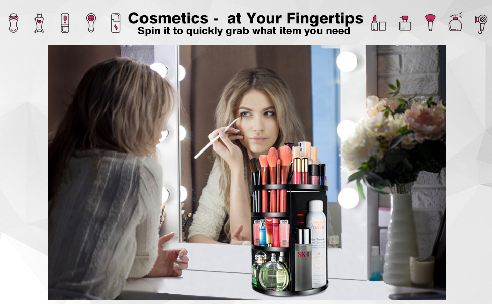 MOKARO 360 Degree Rotating Makeup Organizer for Mom Extra Large