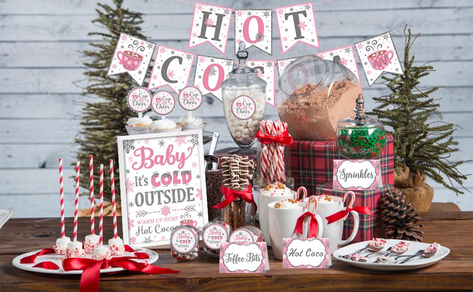 HOT CHOCOLATE Vinyl Decal  \u2022  Winter Christmas Sticker  \u2022  Hot Chocolate Sign Decal  \u2022  Chocolate Lovers  \u2022  Cocoa Bar Decor