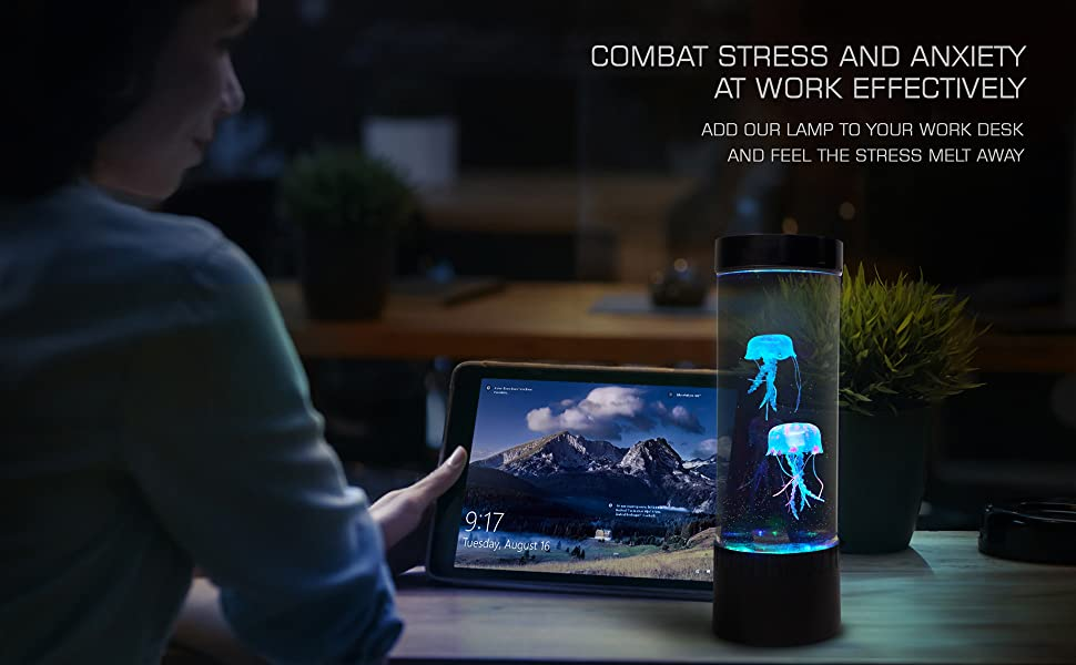 Stress Buster Stress relief office decor office desk decor jellyfish glow color jellyfish lamp