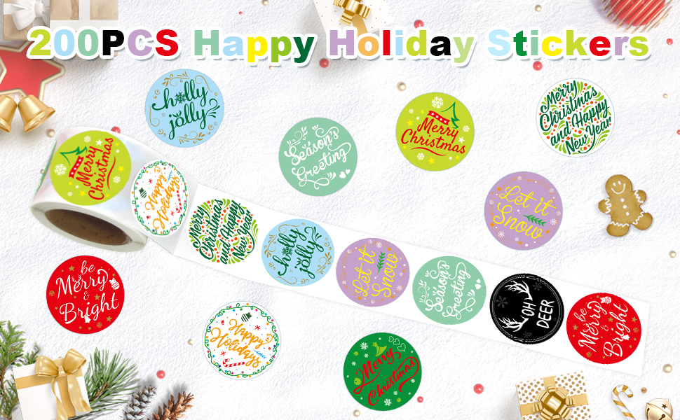 200PCS Holiday Stickers Perforated Roll Happy Holiday Merry Christmas Stickers for Kids Party Decoration