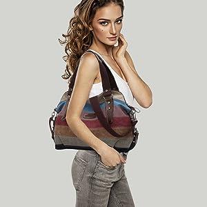 Multi-Color-Striped Damen Handtasche