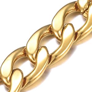 DonDon collana lucida argenteo oro per uomini elegante catena massiccia acciaio inossidabile modern