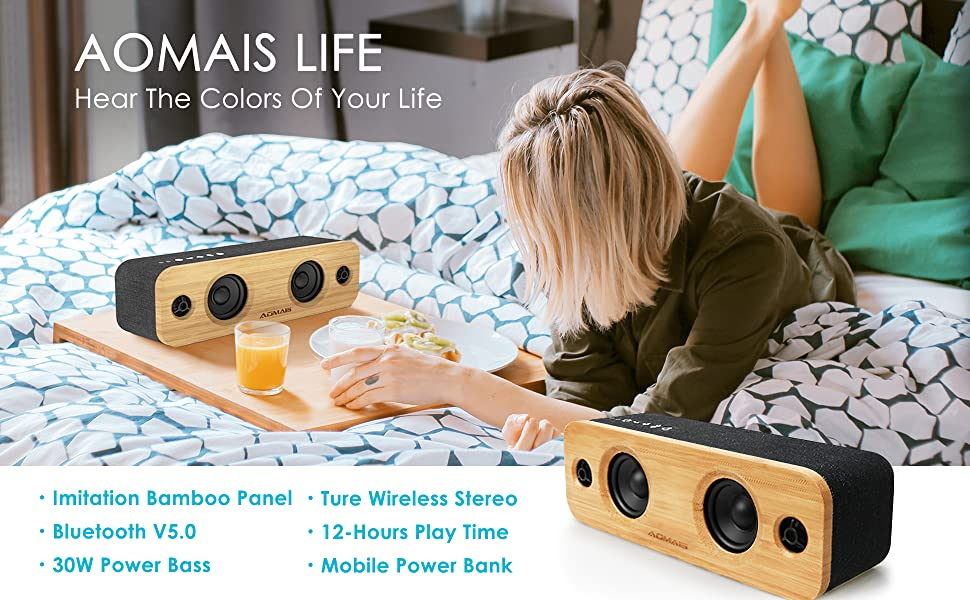 1  AOMAIS Life Bluetooth Speakers, 30W Loud Home Party Wireless Speaker, 2 Woofer & 2 Tweeters for Super Bass Stereo Sound, 100 Ft Bluetooth V5.0 and 12-Hour Playtime Subwoofer – Imitation Bamboo Panel 885af6a8 030e 4827 a6e8 4d679f99149a