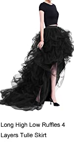 Long High Low Ruffles 4 Layers Party Tulle Skirt with Train