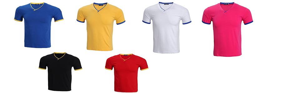 LEOCLOTHO Camiseta Manga Corta Hombre Pack de 3/4/5 Color Sólido Cuello en V T-Shirt: Amazon.es: Ropa y accesorios