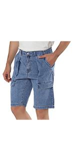 Patch pocket denim shorts