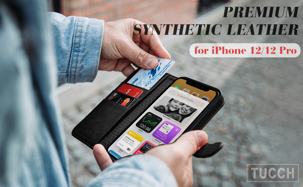 iPhone 12 Pro Case, iPhone 12 Wallet Case, Stand PU Leather Flip Folio Book Case Credit Card Slot