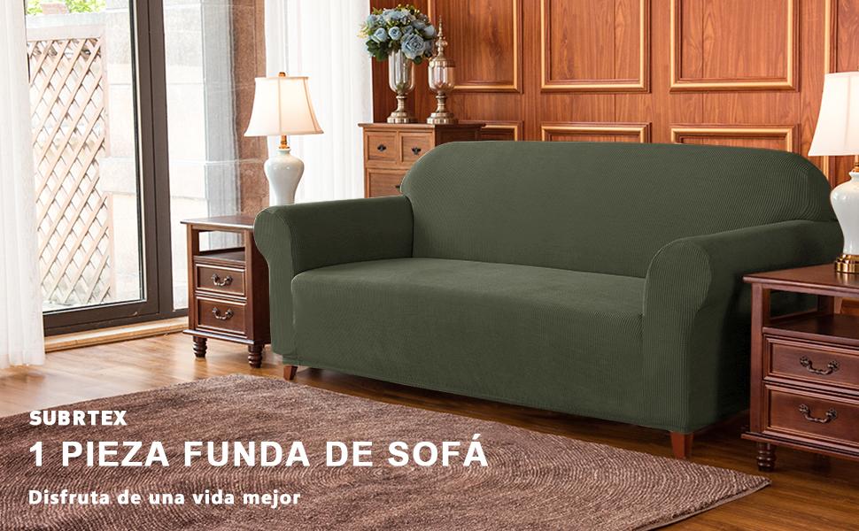 subrtex 1 Pieza Funda de Sofá Poliéster Elástica Cubierta de Asiento Forro de Sofá Doméstica (3 Plazas, Verde Oliva)
