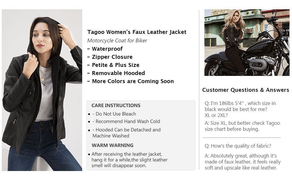 Tagoo faux leather jacket with detachable hood