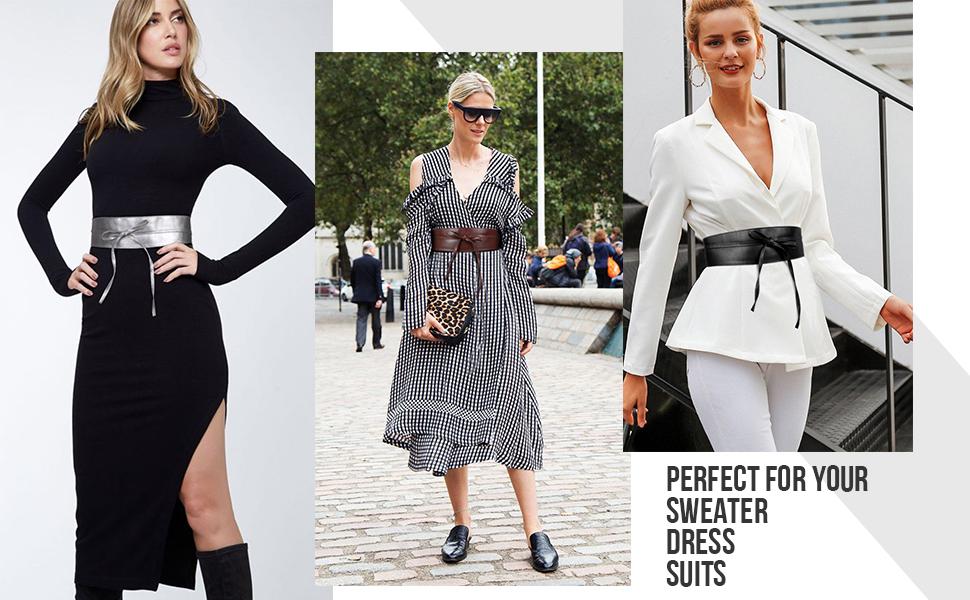 JasGood Breiter G/ürtel Damen Fashion Breiter Tailleng/ürtel f/ür Kleid H/üftg/ürtel Bindeg/ürtel Lederg/ürtel in vielen Farben