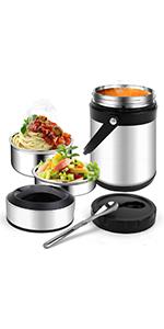 AmazeFan Termo de 800 ml material nuevo en calidad alimentaria alimentos para beb/és yogur sin BPA para alimentos frutas sopa papilla recipiente de acero inoxidable 316 acero inoxidable 316