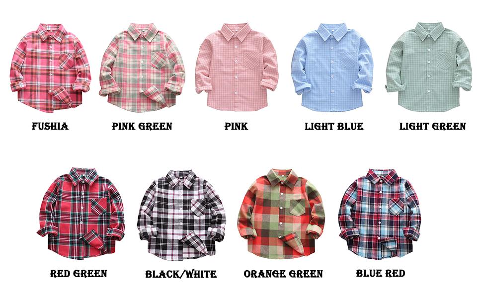 Kids Boy's Girl's Long Sleeve Button Down Plaid Flannel Shirts