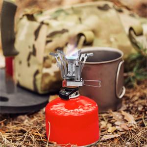 HIKENTURE Gaskocher Camping con Piezozündung 3000 W, Mini Gas Campingkocher Gasbrenner, Camp Gasherd para Primus/Weber/Coleman/Maximum Gas cartuchos, ...