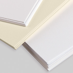 Shows the corners of three different cards, illustrating the 101 lb. card stock used for all cards.