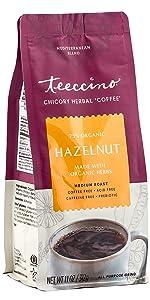 Teeccino Hazelnut Herbal Coffee is a prebiotic, caffeine free, and acid free coffee alternative
