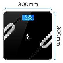 Etekcity Báscula Grasa Corporal Digital Bluetooth de Baño con Superficie Grande (30 x 30 cm), Monitores de Composición de 12 Funciones (5-180 kg), ...