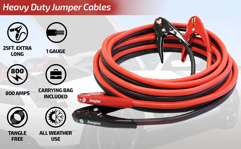 Booster Cables gauge jump cars start starter long bag ropeweighted jumpe dead weak batteries